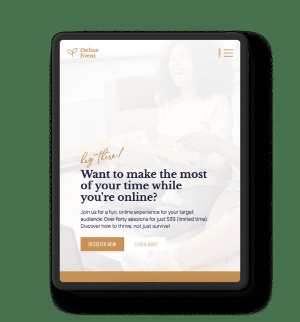 Online Event website on an ipad