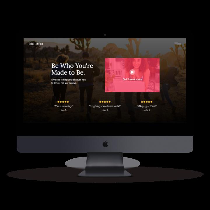 Challenger Membership Website on Desktop