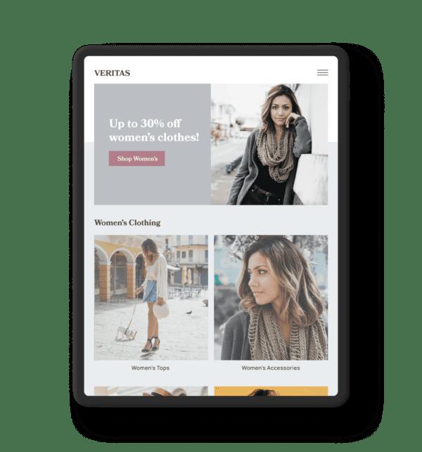 Ecommerce Membership Website on iPad