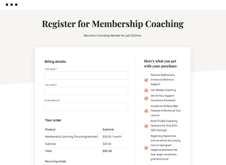 membership coaching order form on a computer